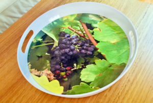 Round Melamine Tray With Grapes