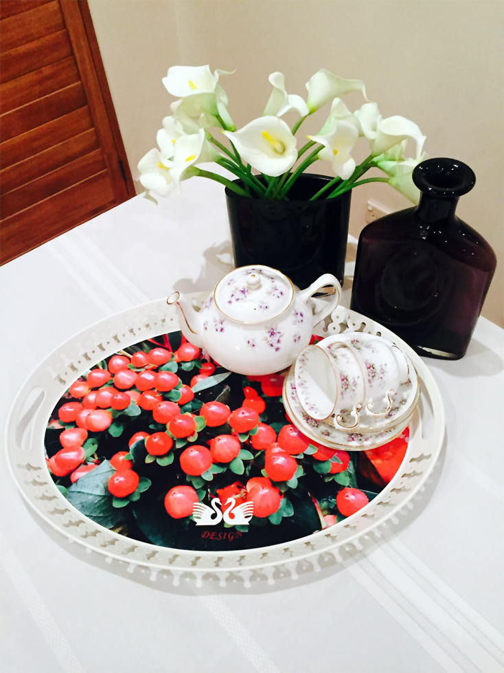 Winter Berries On Table With China And Vases 2