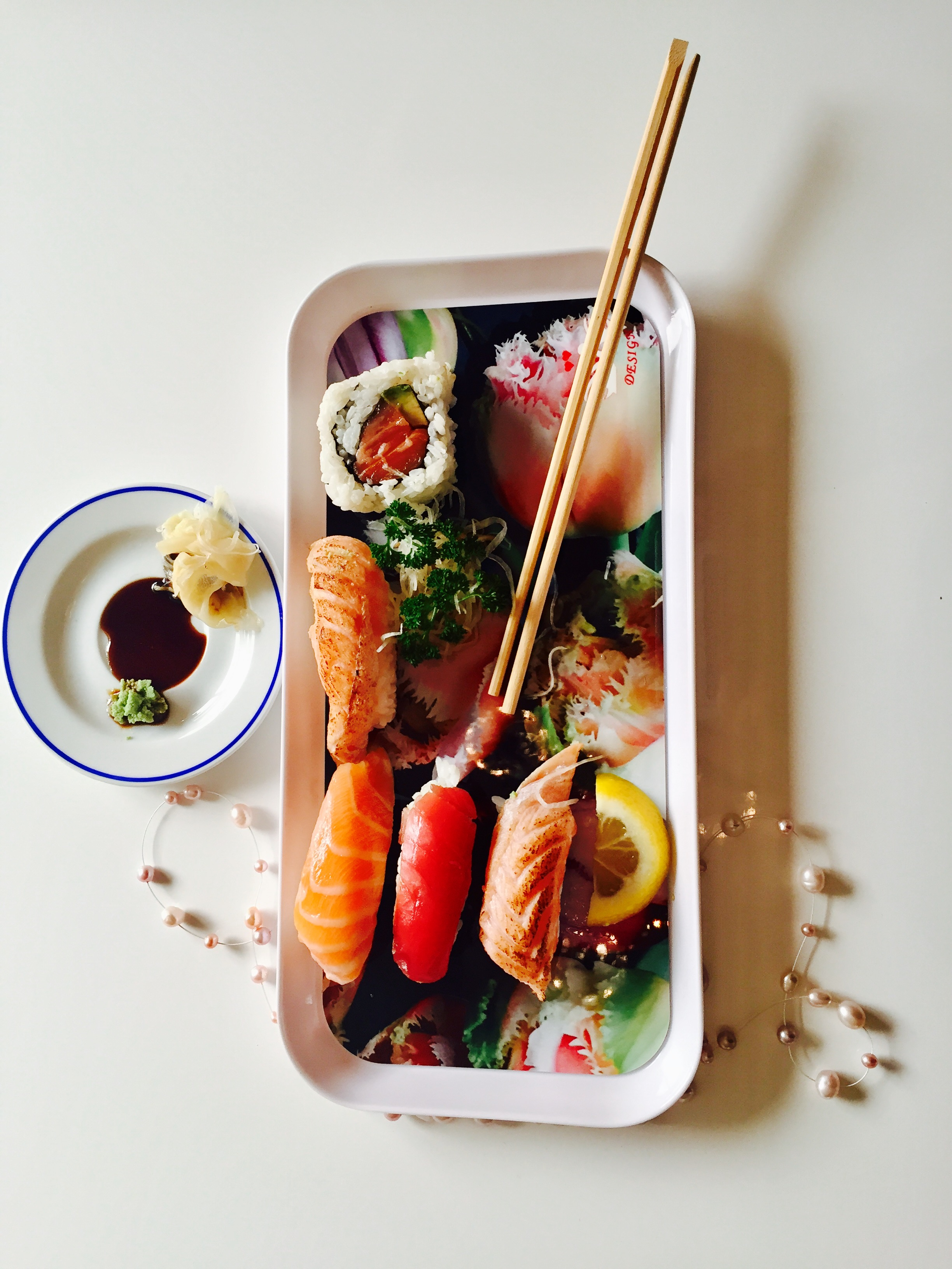 Sushi Tray With Food Vertical